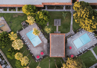 Drone overvie of Pool area in the courtyards and tierra palms