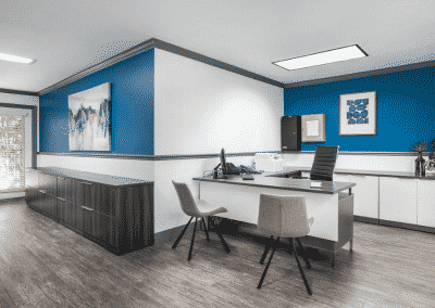white and blue theme office at The Courtyards